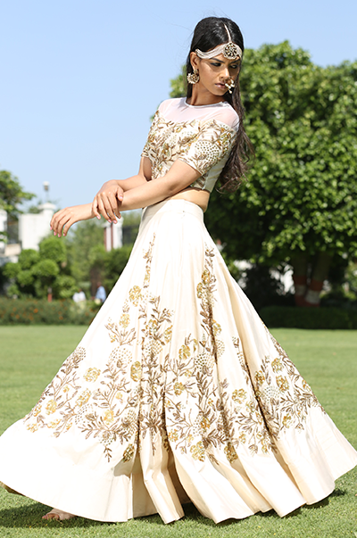Ivory Embroidered Crop Top Lehenga