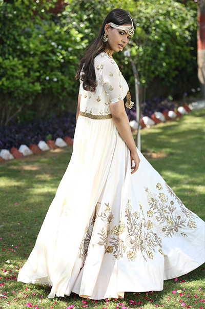 Ivory Lehenga Bustier And Cape