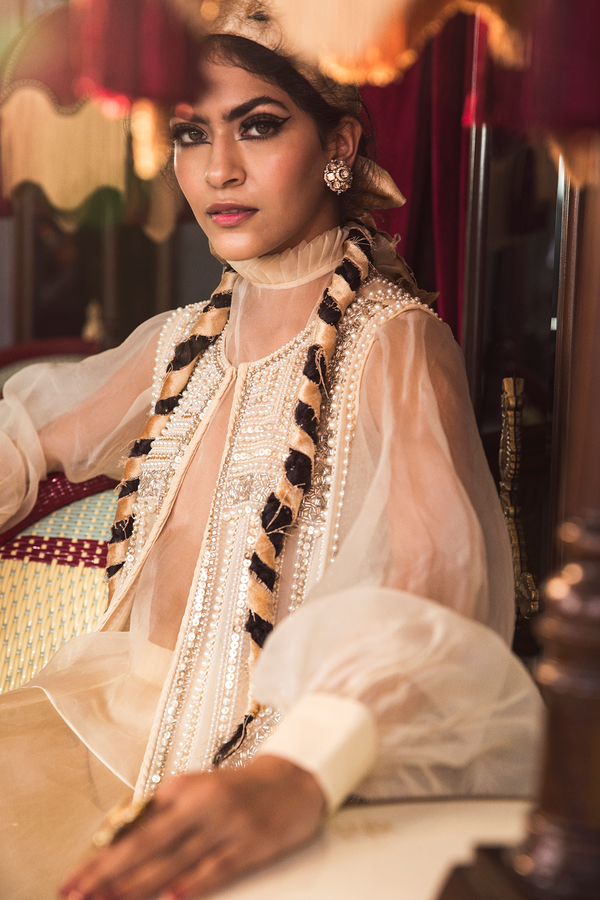 Ivory Victorian Blouse and Embroidered Open Jacket with Lehenga