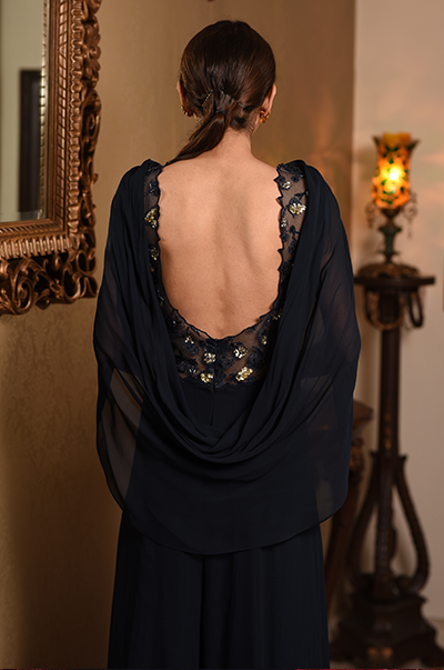 Blue Jumpsuit with Attached Drape
