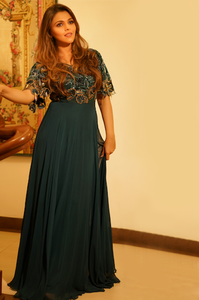 Teal Flared Gown