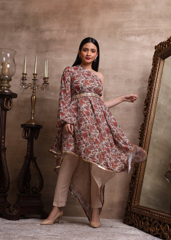Red Printed Asymmetric Kurta with Straight Pant