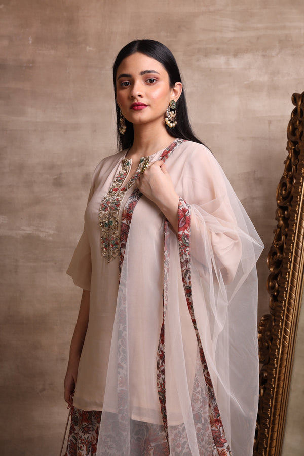 Beige Short Kurta and Printed Plazo Set