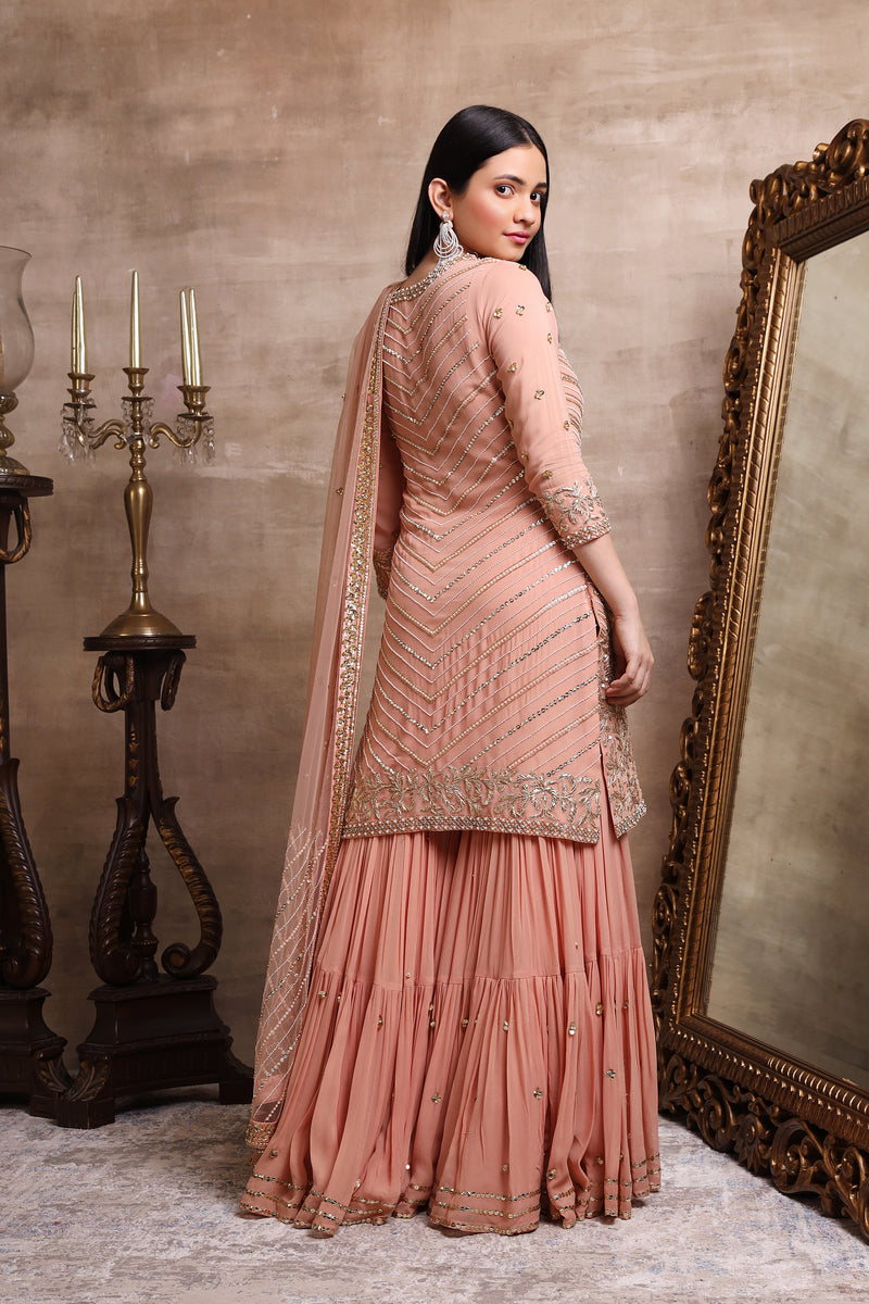 Rose Gold Embroidered Kurta and Tiered Sharara Set