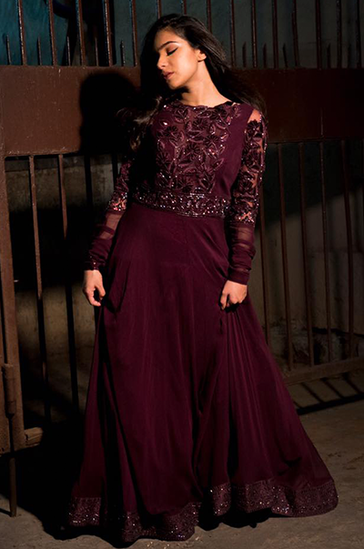 Wine Gown With Velvet Floral Embroidery