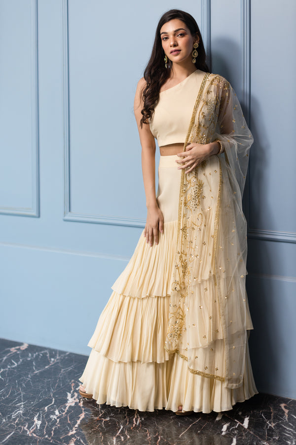 Ivory Tiered Skirt, Blouse and Embroidered Dupatta