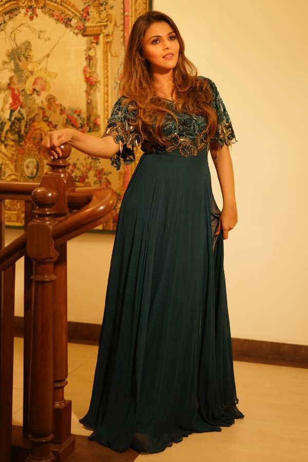 IMAGE CODE in Teal Green Flared Sleeves Gown