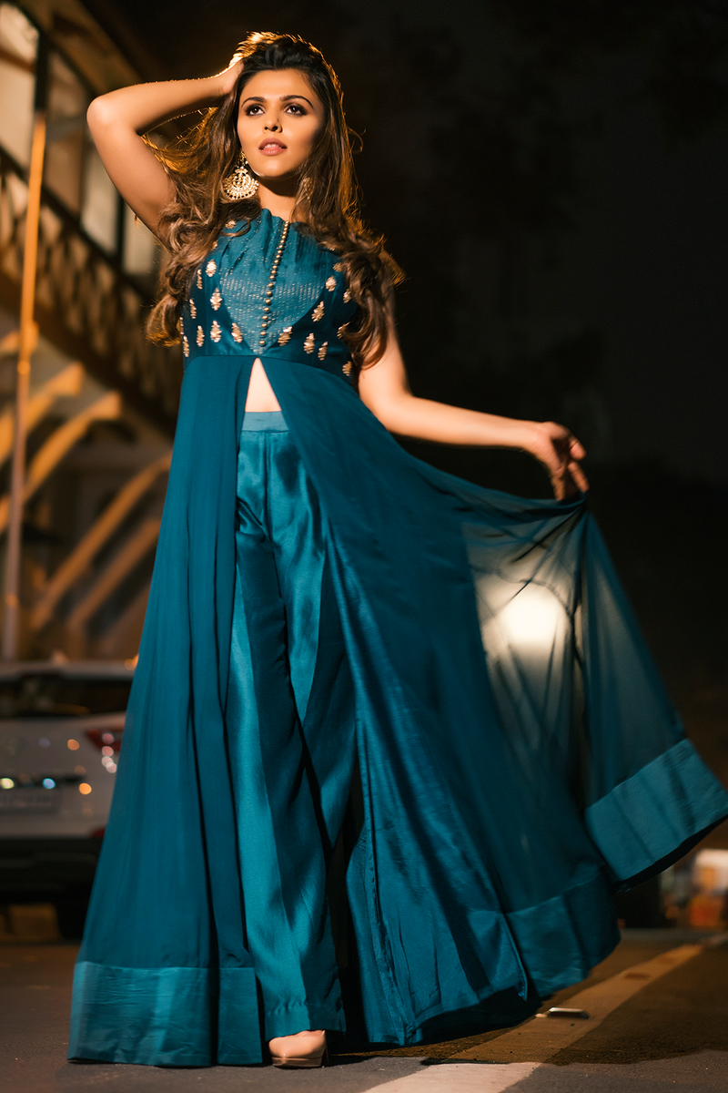 IMAGE CODE in Teal Green Front Open Anarkali with Chanderi pants