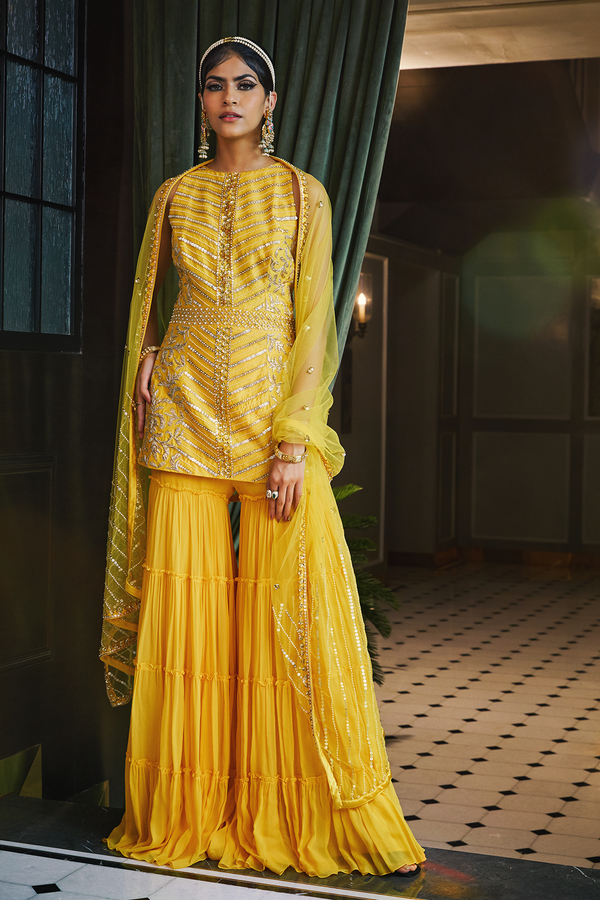 Mango Short Kurta and Tiered Sharara pants with Dupatta