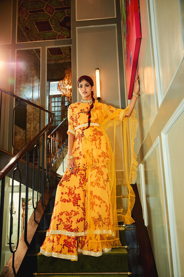 Mango Short Kurta and Sharara with Ruffled Dupatta