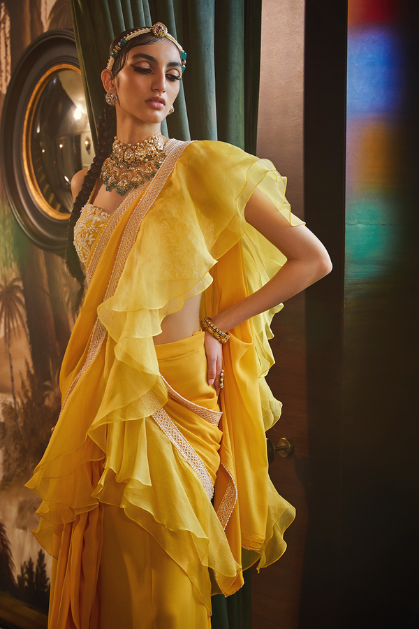 Mango Pre Stitched Ruffled Saree with Embroidered Bustier Blouse.