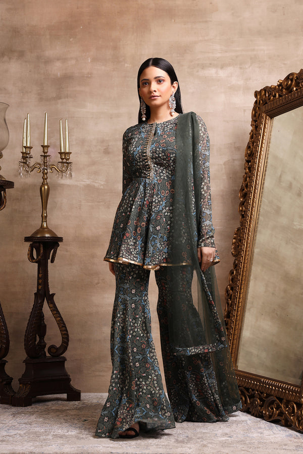 Green Printed Flared Kurta and Sharara Pants Set