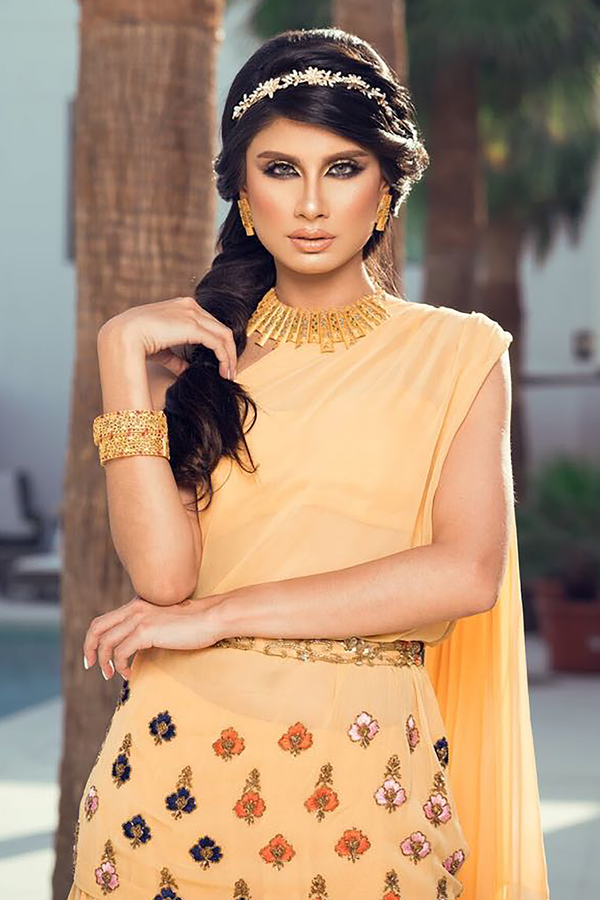 ROSHINI DASHWANI in Pale Yellow One Shoulder Tunic With Skirt and Belt