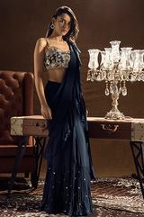 Blue Ruffle Saree and Bustier