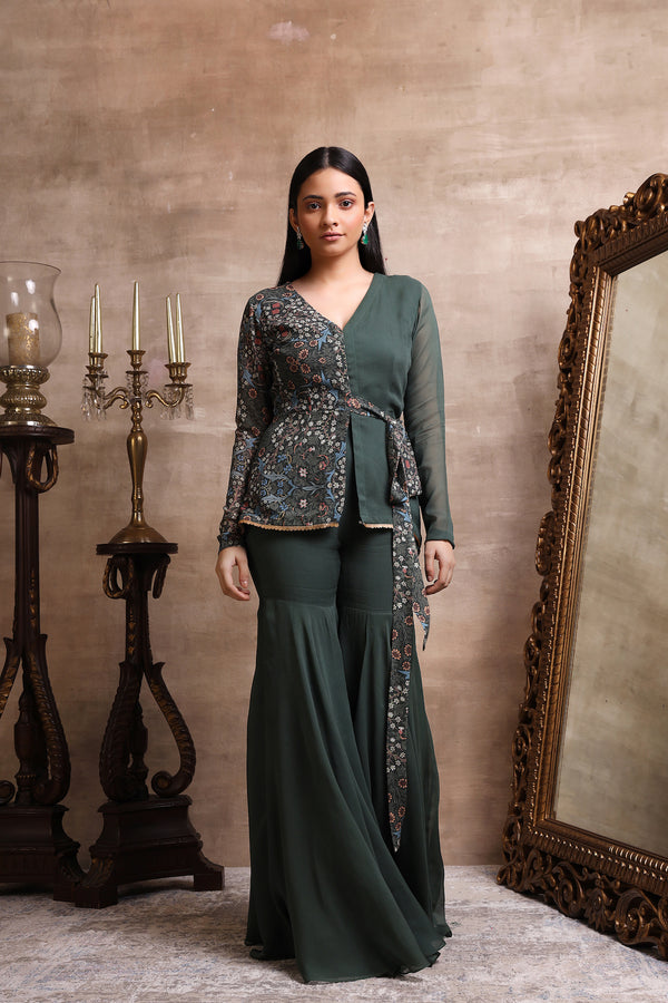 Green Printed Peplum with Sharara Pants