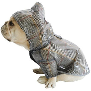 Sitting French bulldog wearing a rain jacket, seen from the side, with the hood up