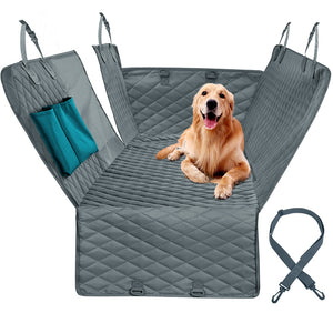 golden retriever lying on car seat protector