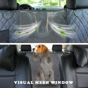 view from the back of the car looking to the front window, displaying the mesh, allowing the dog to see through and wind to come through
