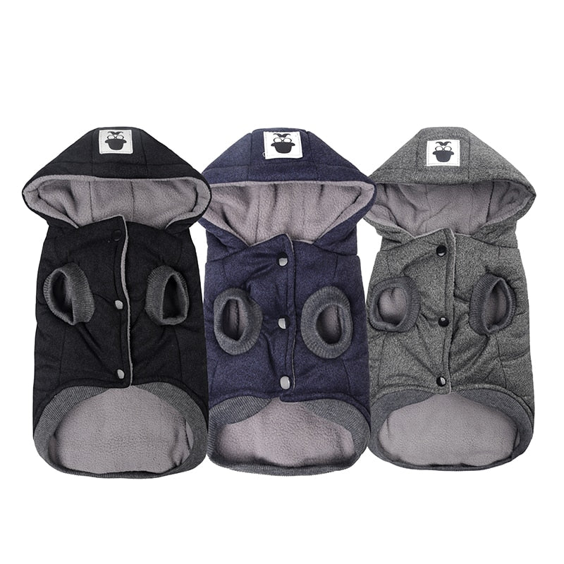 blue, black and grey pet hoodies laid flat side by side