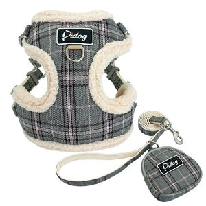 grey pet harness and leash
