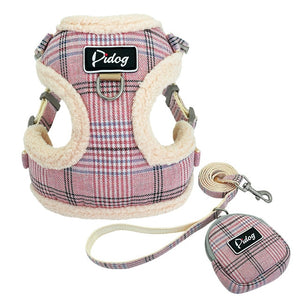 pink dog harness and leash