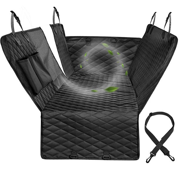 dark grey car seat protector laid in its shape, with graphic of wind passing through mesh