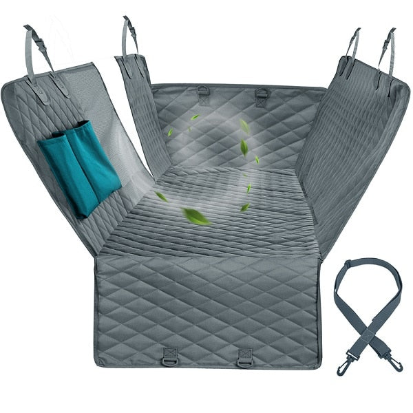 light grey car seat protector in its car seat shape with graphic of wind passing through mesh