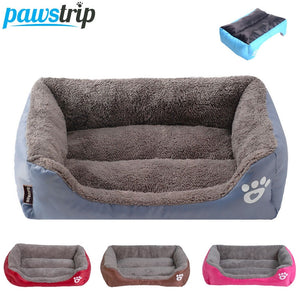 rectangular grey and brown pet bed with 3 different colour varieties displayed below