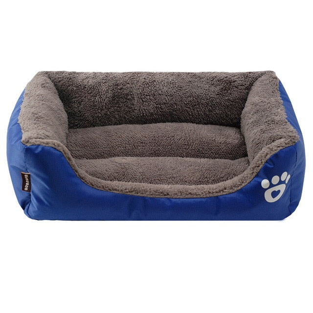 blue and grey rectangular pet bed