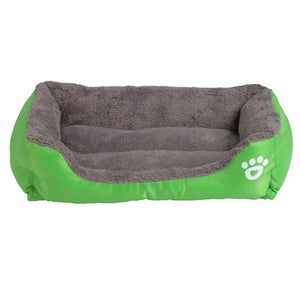 neon green and grey rectangular pet bed