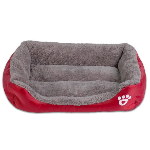 red and grey rectangular pet bed