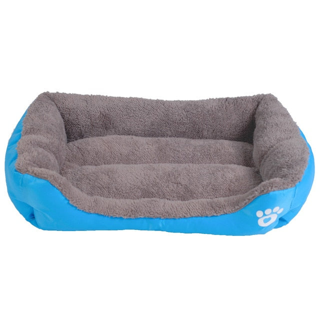 light blue and grey rectangular pet bed