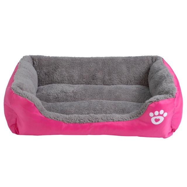 pink and grey rectangular pet bed