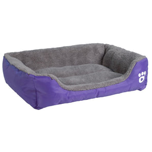 purple and grey rectangular pet bed