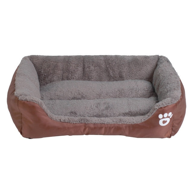 brown and grey rectangular pet bed