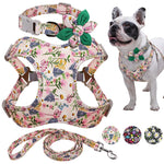 Floral Printed French Bulldog Harness Leash And Collar Set