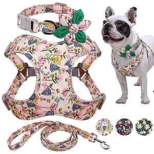 Top: Floral collar with flower bow, centre: floral harness, bottom: floral leash, right: french bulldog wearing all items