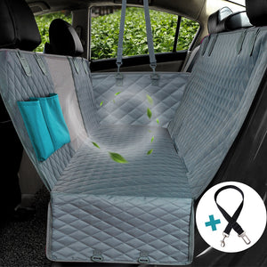 car seat protector laid in back seat of car with graphic of wind passing through mesh