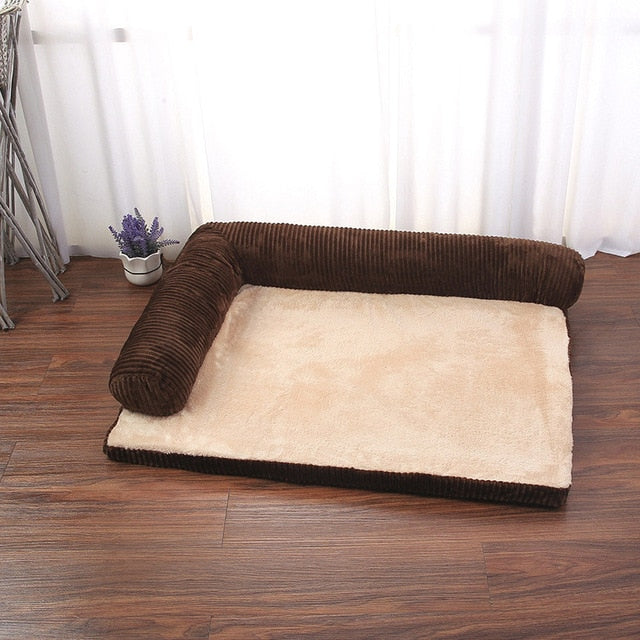 rectangular brown and tan pet bed