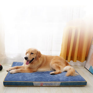 Load image into Gallery viewer, golden retriever lying on a thick blue dog mat infront of a window