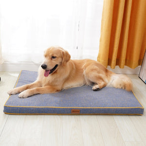 golden retriever lying on a thick grey dog mat infront of a window