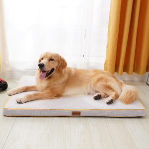 Load image into Gallery viewer, golden retriever lying on a thick cream dog mat infront of a window