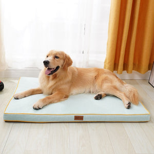 Load image into Gallery viewer, golden retriever lying on a thick light blue dog mat infront of a window