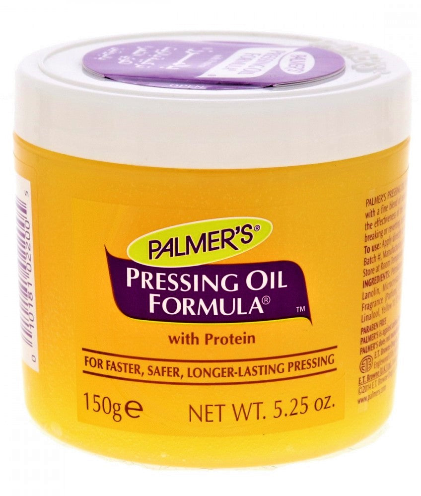 Palmers Hair Care Pressing Oil Formula is specially formulated with a fine blend of natural oils and protein to increase the effectiveness of the iron and keep hair from burning, breaking or reverting. Leaves hair soft and lustrous.