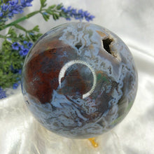 Load image into Gallery viewer, Druzy Moss Agate Sphere