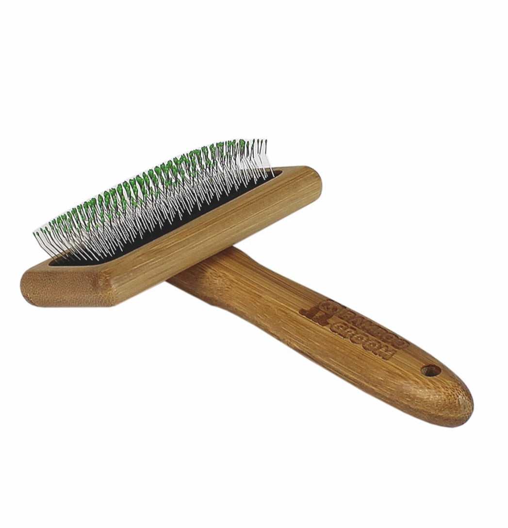 Bamboo Groom Soft Slicker Brush with stainless steel pins & comfort tips