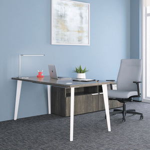 HON Voi Desk with Angled Legs Work from Home Office Furniture Solution Walnut
