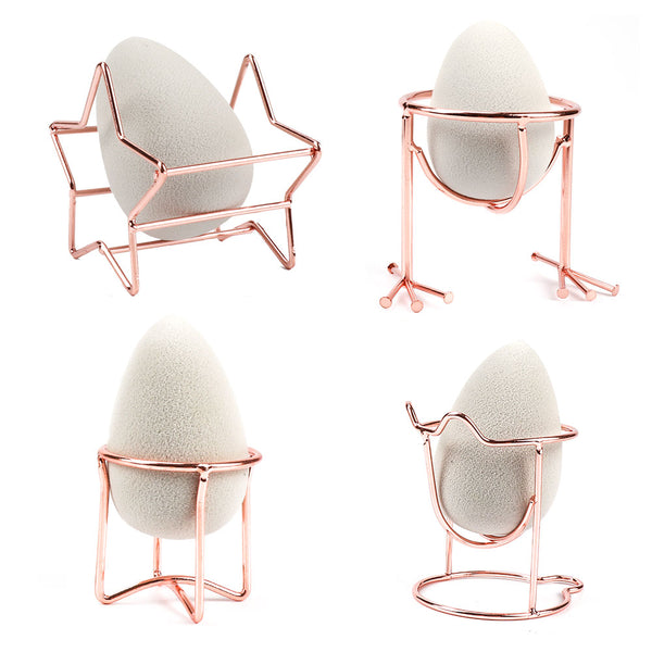 Makeup Sponge Holder Make Up Puff Bracket Beauty Tool Makeup Egg Powder Puff Sponge Display Stand Alloy Drying Holder Rose Gold