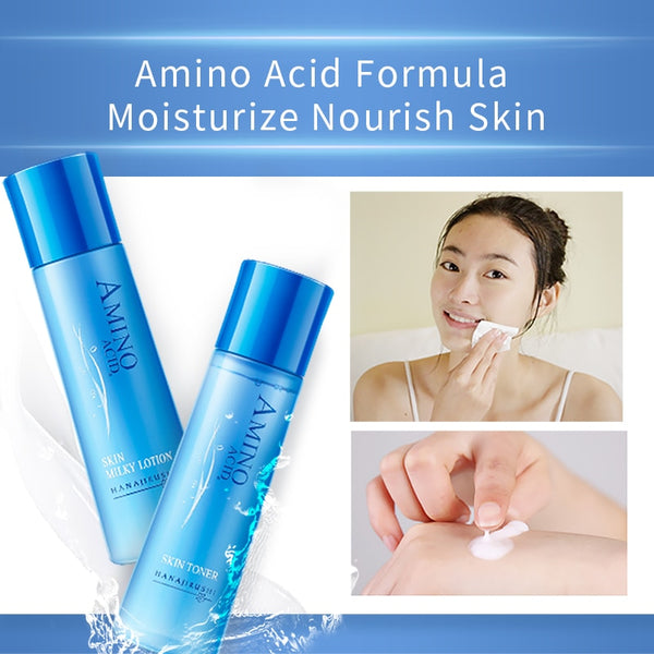HANAJIRUSHI Amino Acid Skin Toner Lotion Set Makeup Water Emulsion Kits Smoothing Anti-Aging Moisturizer  Skincare Set 198ml