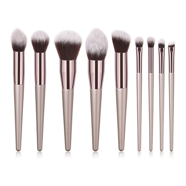 4/10pcs Champagne makeup brushes set for cosmetic foundation powder blush eyeshadow kabuki blending make up brush beauty tool